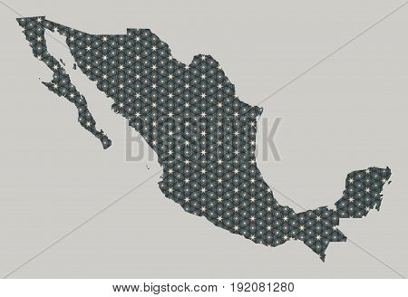 Mexico map with stars and ornaments illustration