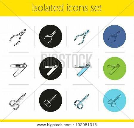 Manicure equipment icons set. Linear, black and color styles. Cuticle nipper, scissors, tweezers. Isolated vector illustrations