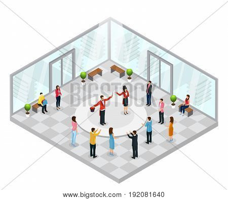 Isometric magic performance concept with magicians showing illusions in front of happy people in shopping mall vector illustration