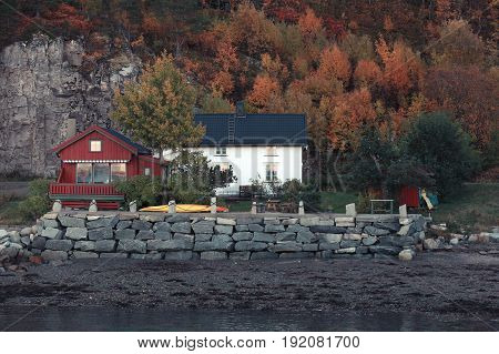 Norwegian Village. Wooden Houses And Barns