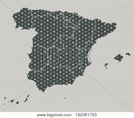 Spain Map With Stars And Ornaments Including Borders