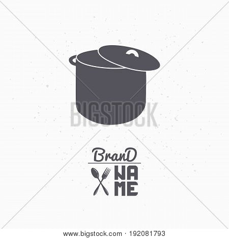 Hand drawn silhouette of stock pot. Restaurant logo template for craft food packaging, menu or brand identity. Vector illustration