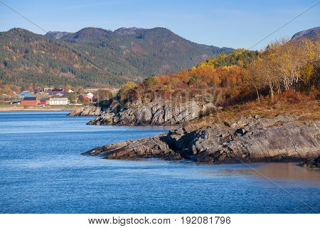 Coastal Norwegian Landscape. Hasselvika Village
