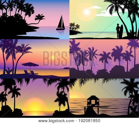 Summer night time sunset vacation beautiful nature tropical beach landscape of paradise island with silhouettes of palm trees silhouette holidays background vector illustration.