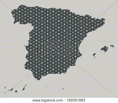 Spain map with stars and ornaments illustration