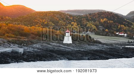 Traditional Norwegian Lighthouse Near Hasselvika