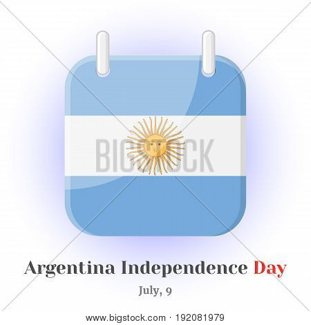 Calendar Icon with Argentina flag and lettering for your design isolated on blue background in simple cartoon style for Independence Day. Vector illustration. Holiday Collection.