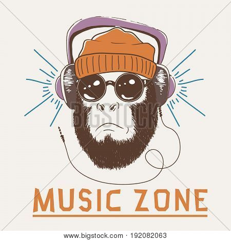 Music fan hipster monkey dressed in headphones and sunglasses.Hipster-chimpanzee.Prints design for -t-shirts