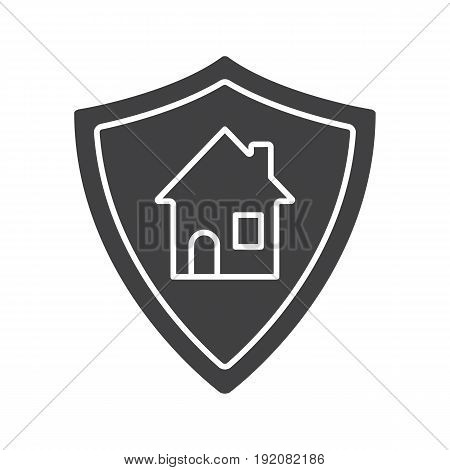 Real estate security glyph icon. Silhouette symbol. Smart home. Protection shield with house. Negative space. Vector isolated illustration