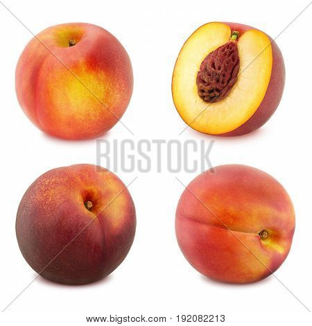 Set of Ripe Nectarines Isolated on White Background in Full Depth of Field with Clipping Path.