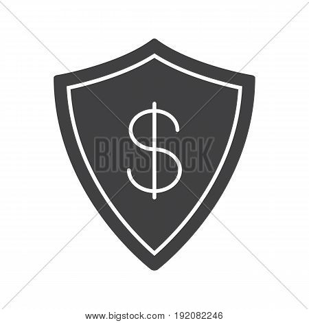 Money security glyph icon. Silhouette symbol. Bank savings protection. Shield with dollar sign. Negative space. Vector isolated illustration