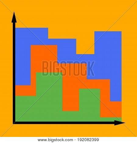 flat icon on stylish background 3d chart