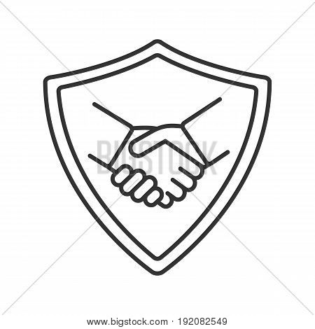 Safe bargain linear icon. Thin line illustration. Protection shield with handshake contour symbol. Vector isolated outline drawing