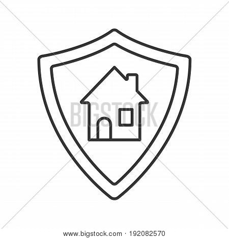 Real estate security linear icon. Smart home thin line illustration. Protection shield with house contour symbol. Vector isolated outline drawing