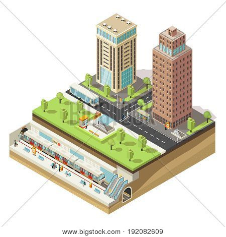 Isometric colorful cityscape concept with people office buildings bus on road and metro station vector illustration