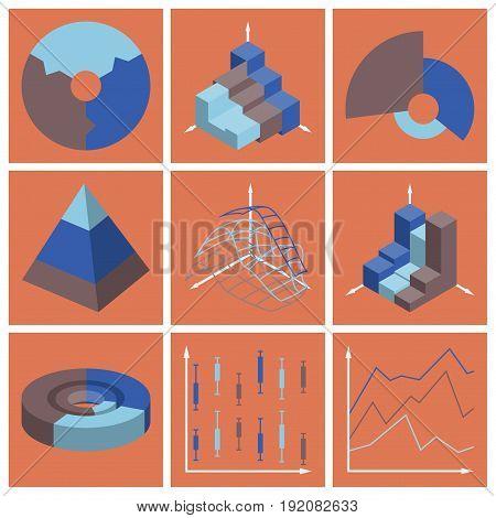 Set of flat icons on stylish background Economic graphs