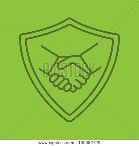 Safe bargain color linear icon. Protection shield with handshake. Thin line contour symbols on color background. Vector illustration