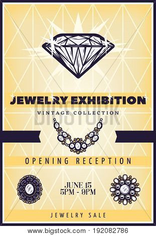 Vintage beautiful jewelry exhibition poster with expensive diamond necklace and brooches vector illustration
