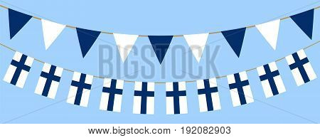 Buntings with finnish flag. Web banner for Flag Day in Finland.