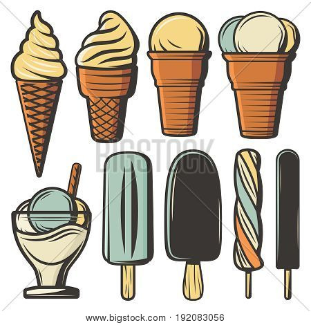 Vintage colored ice creams set in waffle cones on sticks with different flavors ingredients and sundae isolated vector illustration