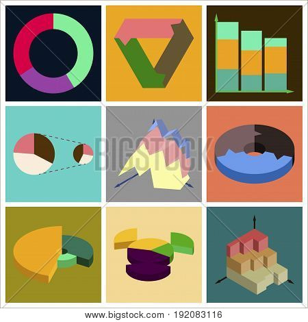 Set of flat icons on stylish background Economic graphs