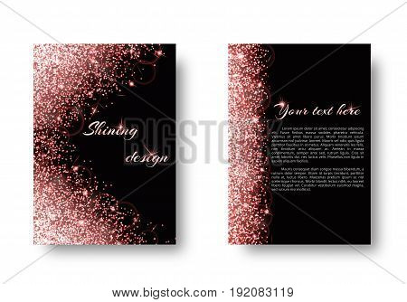 Bokeh background with light flare. Glitter pattern on a black backdrop.