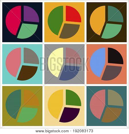 Set of flat icons on stylish background Pie chart