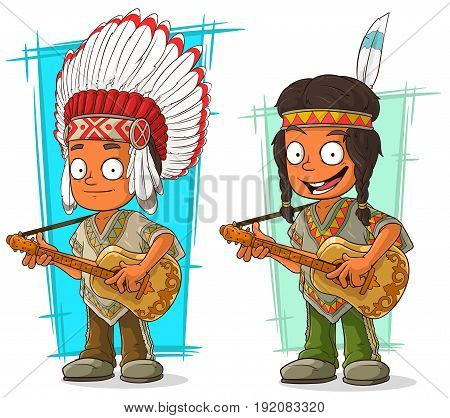 Cartoon smiling indian chief and boy with guitar character vector set