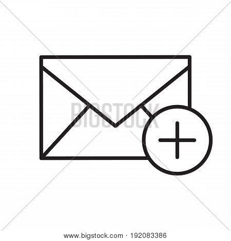 Add email linear icon. Thin line illustration. Email letter with plus contour symbol. Vector isolated outline drawing