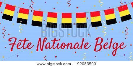 Belgian flag bunting. Web banner for National day in Belgium.