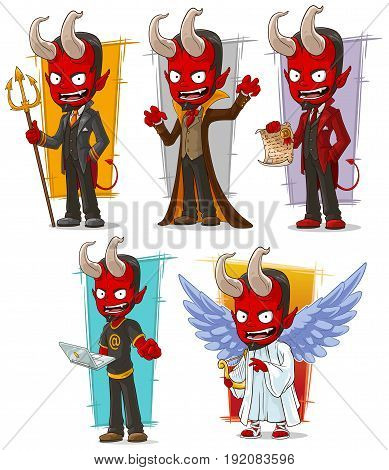 Cartoon angry red devils and evil angel character vector set