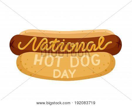 National hot dog day. Hot dog isolated on white