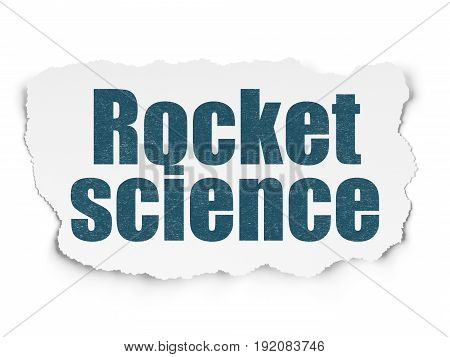 Science concept: Painted blue text Rocket Science on Torn Paper background with Scheme Of Hand Drawn Science Icons