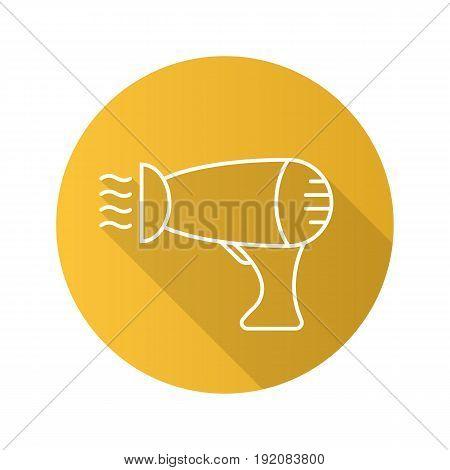 Hair dryer flat linear long shadow icon. Blowdryer. Vector line symbol