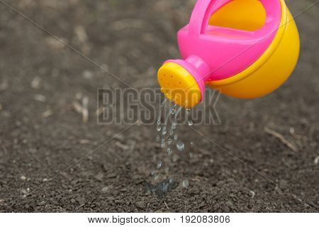 A pink yellow watering can water the ground. Drops of water spill dissipate moisturize the earth. Help fight the drought