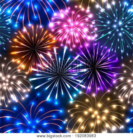 Seamless pattern with colorful fireworks on dark background