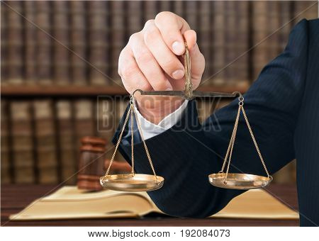 Hand symbol justice scale white isolated business