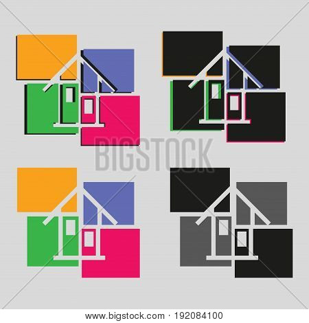a symbol of the home construction company logo emblem flat style image