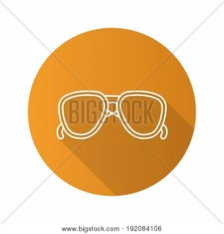 Sunglasses flat linear long shadow icon. Aviators. Vector line symbol