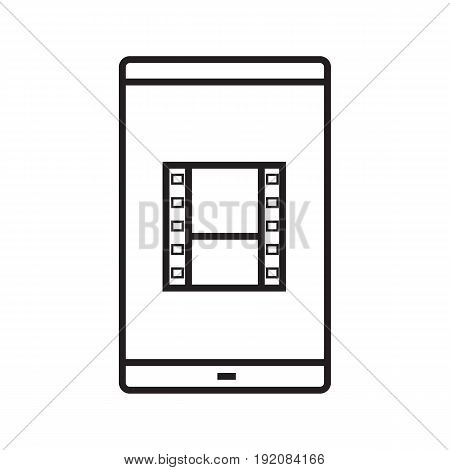 Smartphone video file linear icon. Thin line illustration. Smart phone with film strip contour symbol. Vector isolated outline drawing