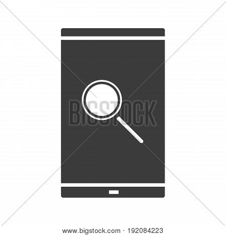 Smartphone search app glyph icon. Silhouette symbol. Smart phone with magnifying glass. Negative space. Vector isolated illustration