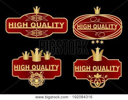 Set of high quality label in dark red and gold design with graphic ornate elements royal crown stars. High quality vintage stickers in vector eps 10
