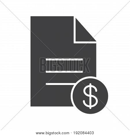 Contract glyph icon. Business agreement silhouette symbol. Document with dollar sign. Negative space. Vector isolated illustration