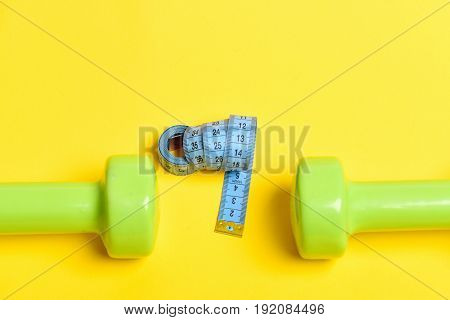 Twisted Tape For Measuring In Blue Color Near Sports Equipment