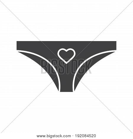 Panties glyph icon. Silhouette symbol. Women's panties with heart shape. Negative space. Vector isolated illustration