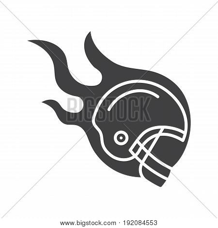 Burning rugby player's helmet glyph icon. Silhouette symbol. Negative space. Vector isolated illustration