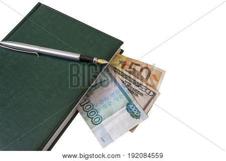 On the diary is a fountain pen. Between the pages of the diary you can see parts of $ 50 50 euros and 1000 Russian rubles
