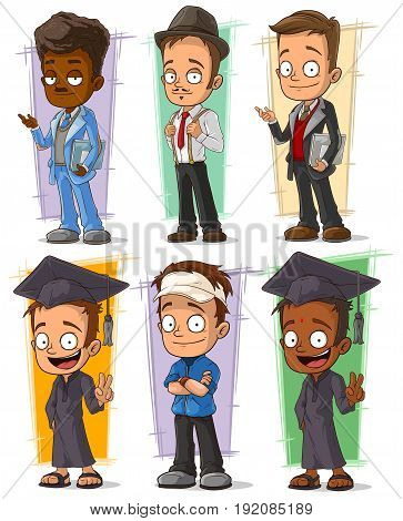 Cartoon happy college student and teacher character vector set