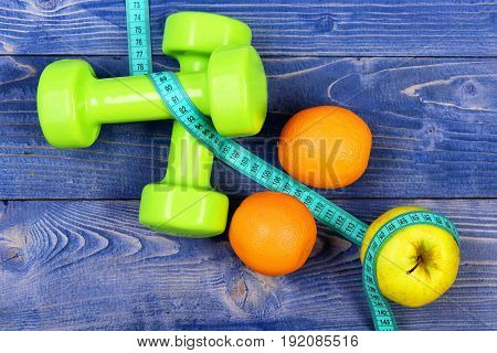 Aerobic Concept, Dumbbells Weight With Measuring Tape, Fruit