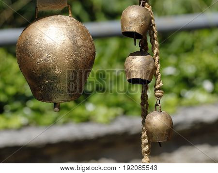 Bells for cows hanging at a pole
